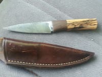 Vintage bone handle knife with leather case Temple, 30179