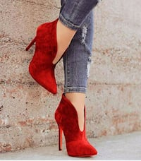 pair of red suede platform stilettos Winnipeg, R2V 0L5