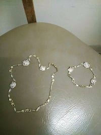 silver-colored necklace with earrings 285 mi