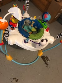 baby's white and blue jumperoo