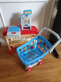 Shopping cart and cashier. Grocery game