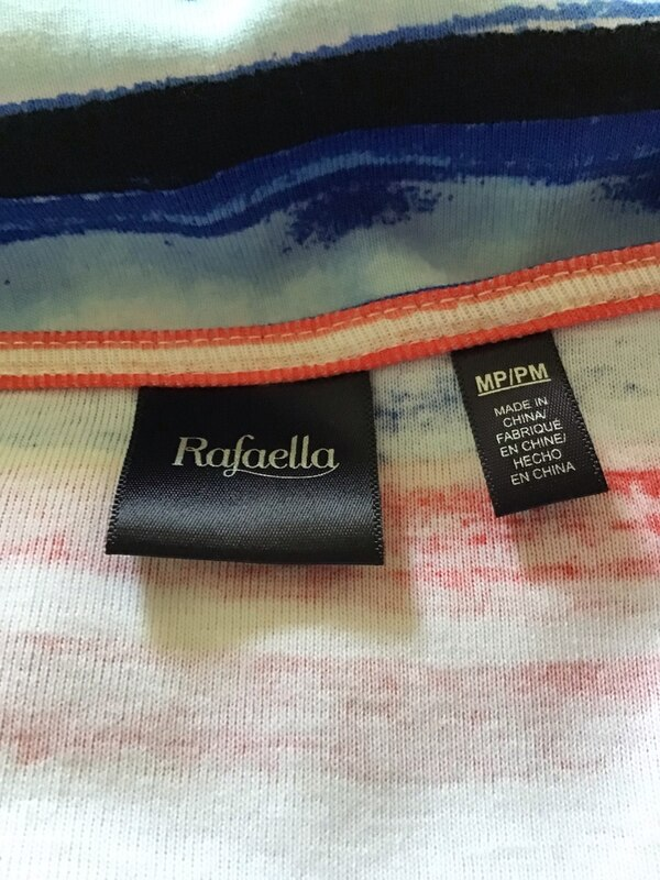 Rafaella Top short sleeve size MP NWT red blue yellow black 5