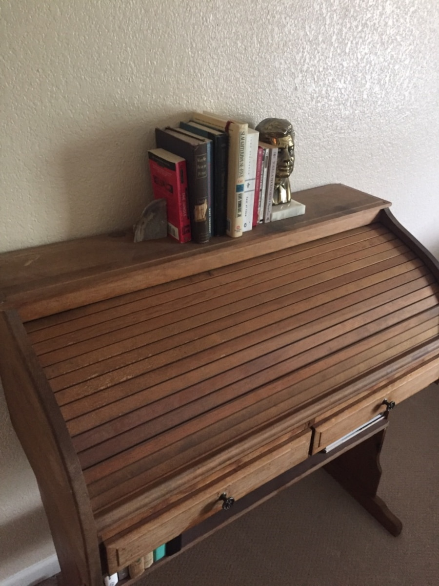 Brown Antique Wooden Roll Top Desk With Functional Drawers