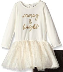 """Toddler girls 4T, Rare Editions, """"Merry & Bright"""" Long-sleeve tutu top"""