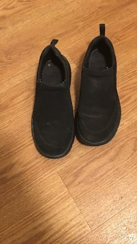 pair of black leather shoes 2303 mi