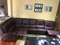 Genuine leather sectional with two recliners  Markham, L3S 4S2