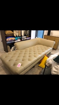 Extra large 100% leather designer lounge chaise  New York, 10036