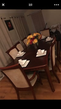 Rectangular brown wooden table with six chairs dining set Lafayette