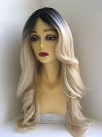 26 inch long wavy layered ombré dark roots blonde comes in seven colors
