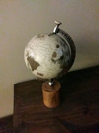 Globe with wooden pedistal