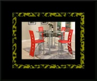 Red counter height table with 4 chairs < 1 km