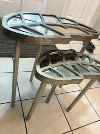 GORGEOUS Mirrored Leaf nesting tables  Ajax