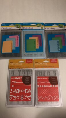 Five Cuttlebug Embossing folders. Must take ALL for $10.00