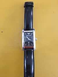 square black Emporio Armani analog watch with black leather strap