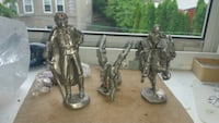 Hand-made pewter figurines, real gemstones