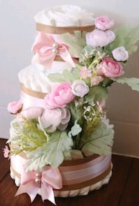 Baby pink spring 3 tier diaper cake  Chantilly, 20151