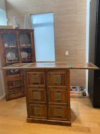 Fold Out Bar Table with Storage
