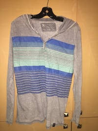 gray and blue striped pullover hoodie Mississauga, L4W 2Z5