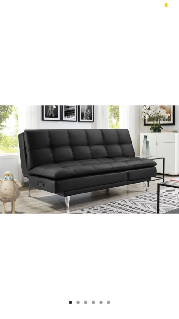 Used Black leather convertible sofa for sale in Reading - letgo