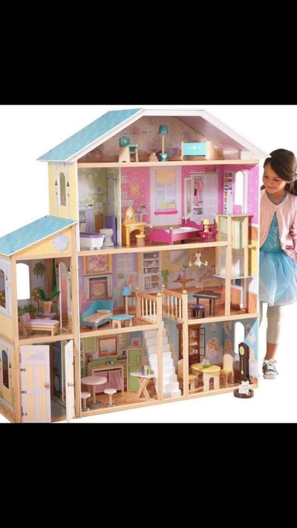 Used White And Pink Wooden Dollhouse For Sale In Haltom City Letgo