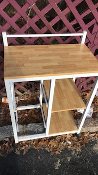 white metal-framed beige wooden side table Patchogue, 11772
