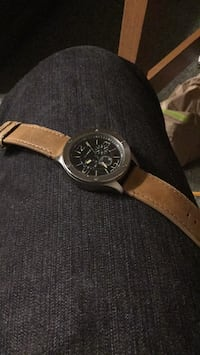 Round silver chronograph watch with brown leather strap Washington, 20032