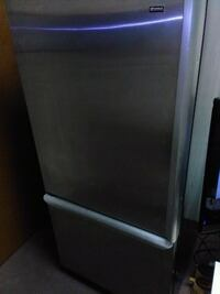 gray and black compact refrigerator