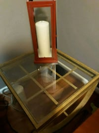 brown wooden framed glass top table Burke