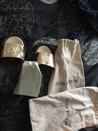 Two brown Louis Vuitton Slippers with drawstring bag Hagerstown, 21740