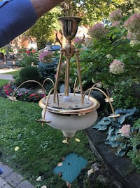 Brass & murano light fixture with flowers.