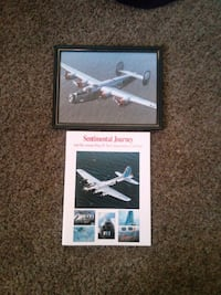 Antique plane picture and book $2.00 Lancaster, 93535