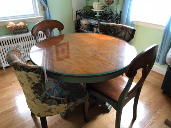 March Ella Dining Table Gl Top And 4 Chairs Round 48 D X 30