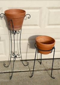 "2 Vintage iron plant stands w/ Terra-cotta flower pots 24"" & 39"" tall both in good condition Wylie, 75098"