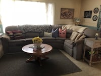 Gray fabric sectional sofa with throw pillows. This is still available as of March 18,2019 Tulare, 93274
