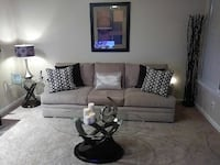 Sofa, coffee, end table, lamp, picture & tree