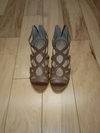 Brown Leather Heeled Wedges DeLand, 32720