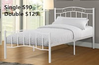 Brand new white metal platform bed frame in single and double on sale 多伦多, M1P 5E4