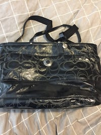 Black monogram coach leather tote diaper bag Vancouver, V6H 2W3