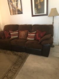 Brown microfiber sofa with 2 built-in recliners—moving; must sell. $195 O B O Henderson, 89015