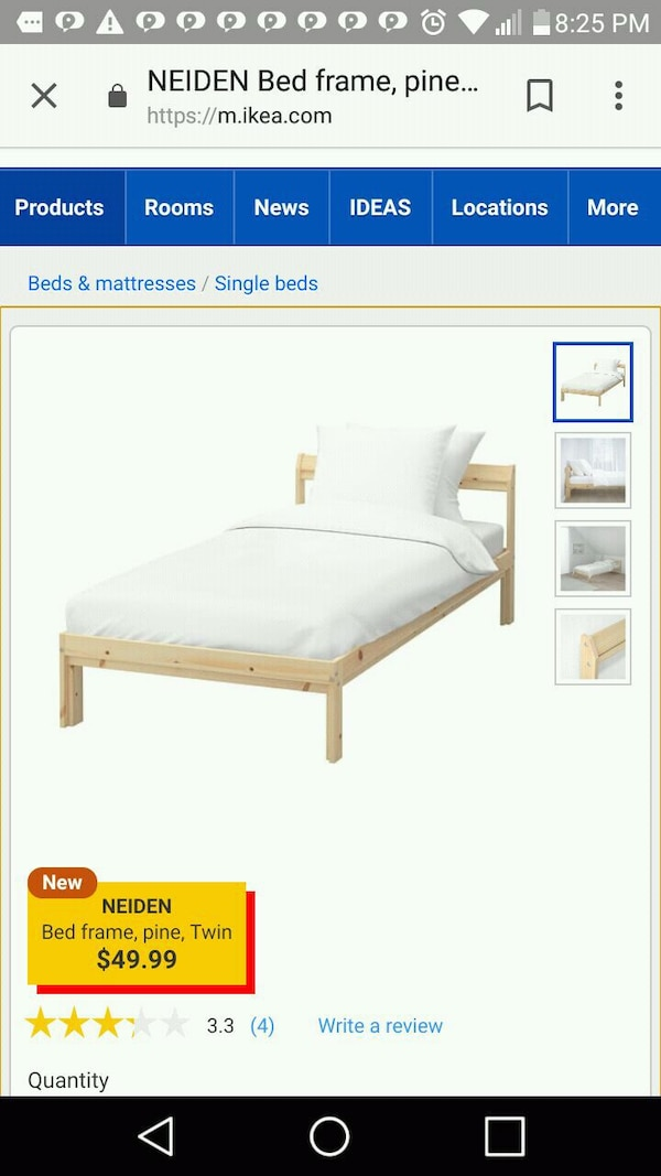 white wooden bed frame screenshot