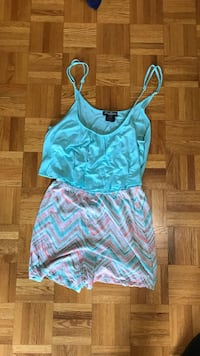 Teal and white spaghetti strap romper size medium Lake Country, V4V 1G9