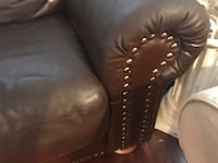 Brown leather tufted sofa chair West Orange