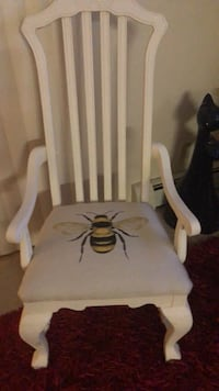 Very heavy sturdy chair, with new bee upholstery. Purchased from the picker knows in Des Moines Newton, 50208