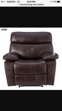 Lazyboy Burgundy Brown leather recliner chair screenshot