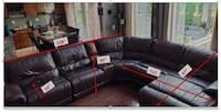 Brown Leather Sectional Sofa with Recliners for Sale Ashburn