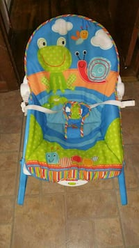 baby's blue and green bouncer