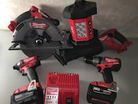 Milwaukee fuel one key hammer drill & impact gun,fuel sawzall,circular saw,batteries(3.0,5.0) light and charger