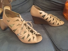 beige leather strap wedges