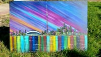 34x24 inches Toronto skyline acrylic painting  Vaughan, L4K 2L7
