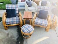 Vintage- excellent condition Paul Frankl style Rattan!!  set includes 2 chairs, ottoman and magazine rack. These vintage pieces sell for far more than we are asking for. Will sell to top offer.  Will not go less than $500.00. Escalon, 95320